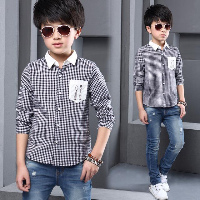 Nueva Primavera Otoño Niños niños Bebés Camisas de Alta Calidad Marca Plaid Niños Camisetas Niños Tops Tees Moda Camisas de Los Muchachos W1615211
