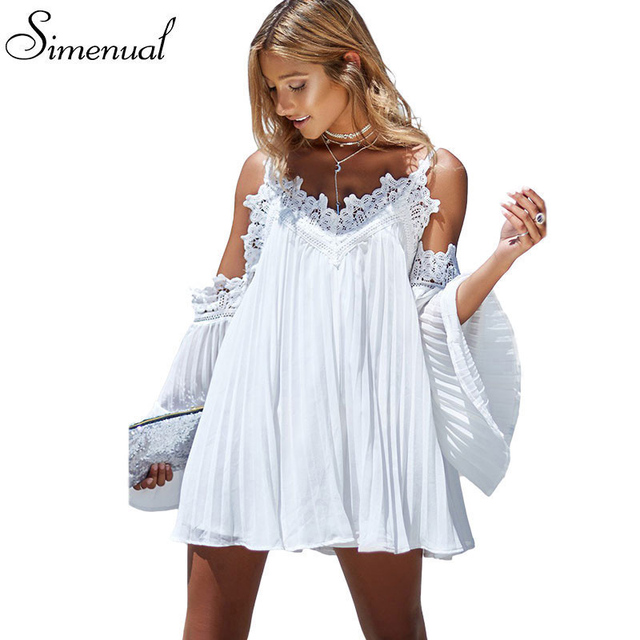 b994a9bfae26 Boho off shoulder lace splice summer beach dress ladies 2018 flare sleeve  sexy short dresses women casual slim dress beachwear