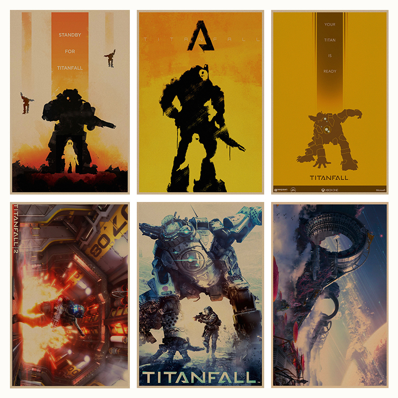 Titanfall game retro Poster Retro Kraft Paper Bar Cafe Home Decor Painting Wall Sticker