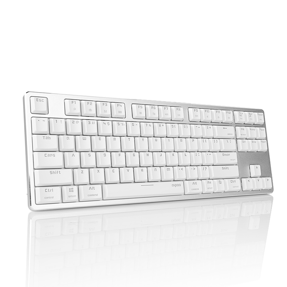 Rapoo MT500 Mechanical Keyboard White Backlit USB Removable Design Anti-ghosting 87 Keys Latest Low Profile Red Switches