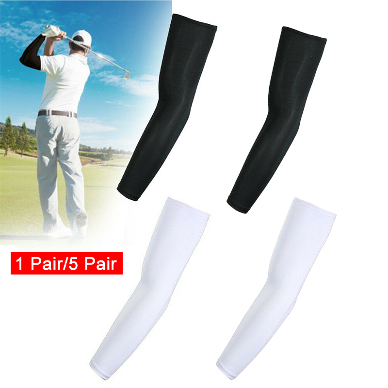 HOT 5 Pairs Cooling Arm Sleeves Sun UV Protection Outdoor Sport Sunscreen Half Finger Cover 19ING