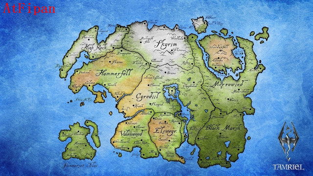 AtFipan The Elder Scrolls World Map Poster 1 Piece Unframed Canvas ...
