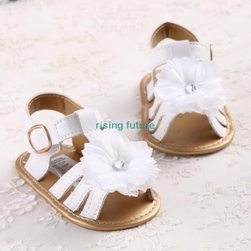innovative design 48a44 45513 S860 Free Shipping White-Golden and Big White Flowers Soft Sole Baby Girl s  Sandals 3 Size