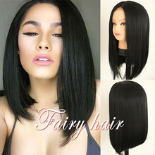 Synthetic shor bob Wig Short Straight Hair Heat Resistant Fiber Lace Front Wigs Glueless For Black Women Synthetic Lace  Wig