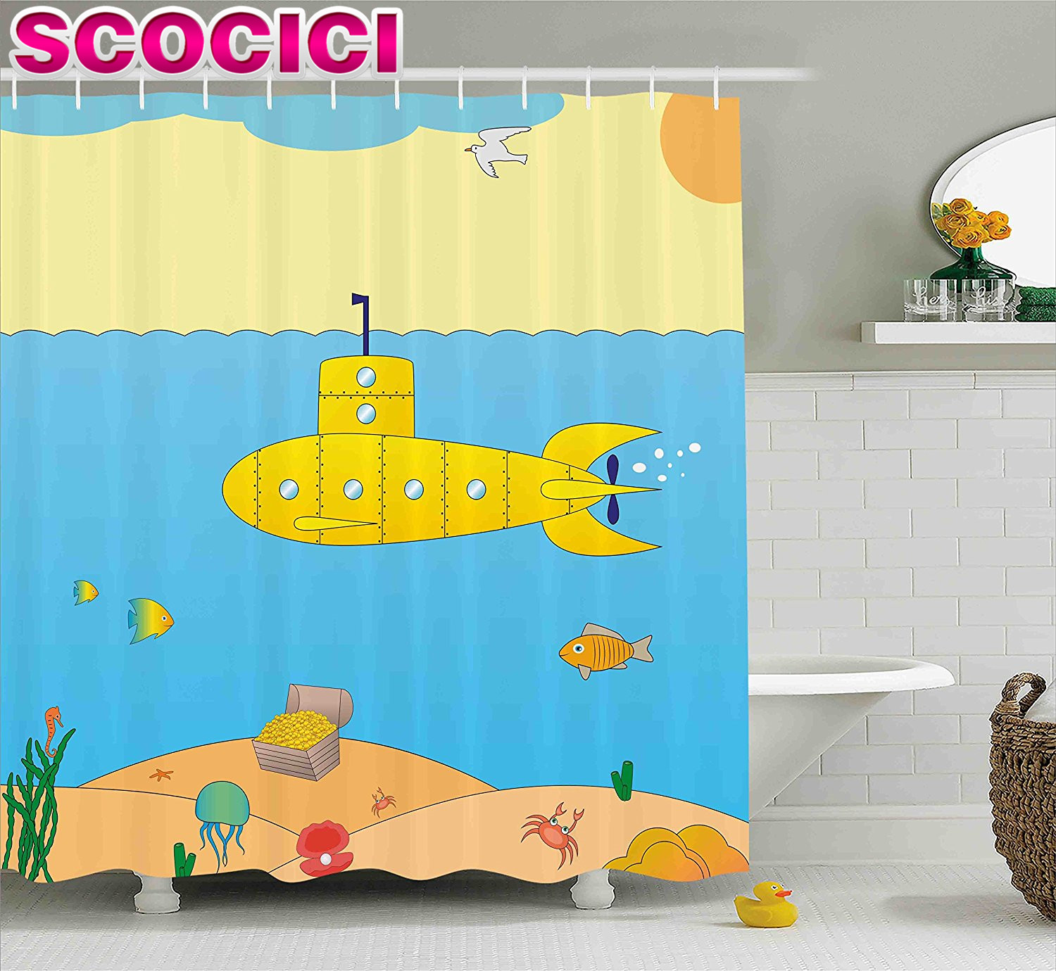 Nautical Decor Shower Curtain Set Theme With Paper Boat Sea Hy Dolphins Underwater