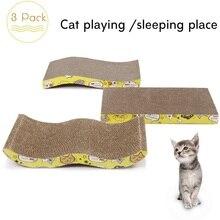 Pet Cat Furniture Cat Scratching Board 3 Different Design Cardboard Cats Scratching Mat with Catnip Scratcher for Kitten Kitty