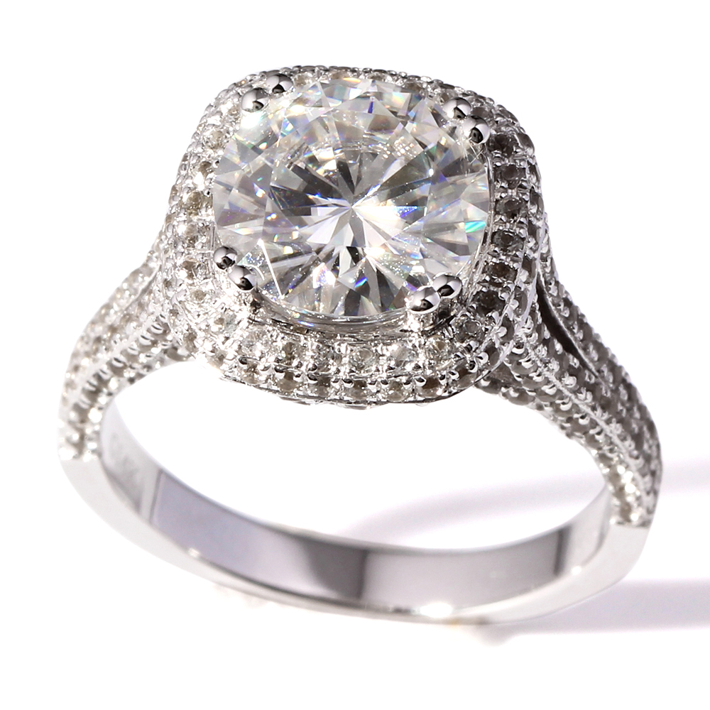 TransGems 3 Carat Lab Grown Moissanite Diamond Wedding Ring Lab Diamond Accents Solid 14K White Gold Engagemennt Halo Ring in Rings from Jewelry Accessories