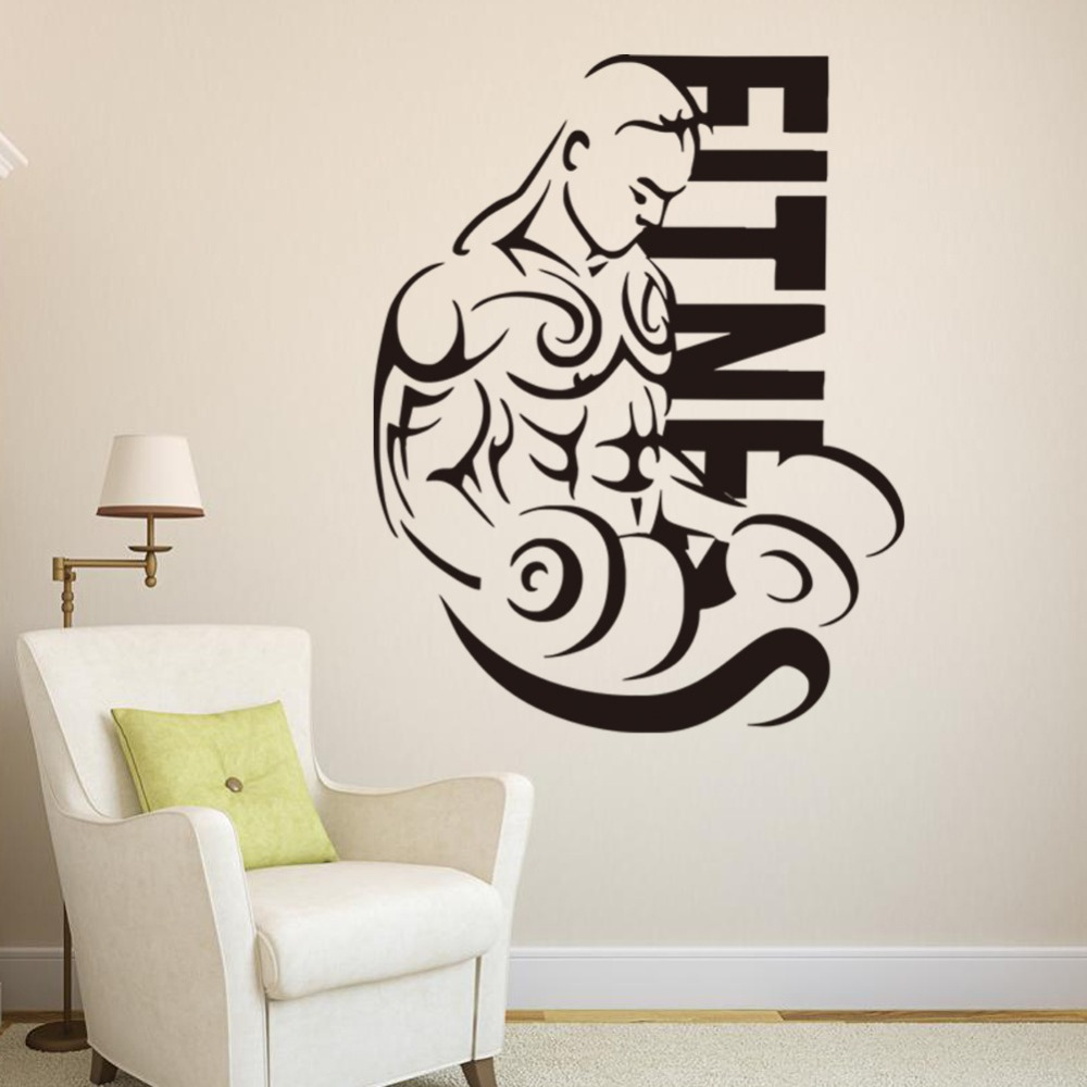 New men wall sticker home decor fitness bodybuilding