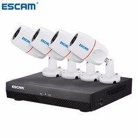 ESCAM PNK405 HD 1080 P 4CH POE NVR безопасности Системы с детектором движения запись сигнализации ONVIF IP66 Водонепроницаемый ИК Пуля камера