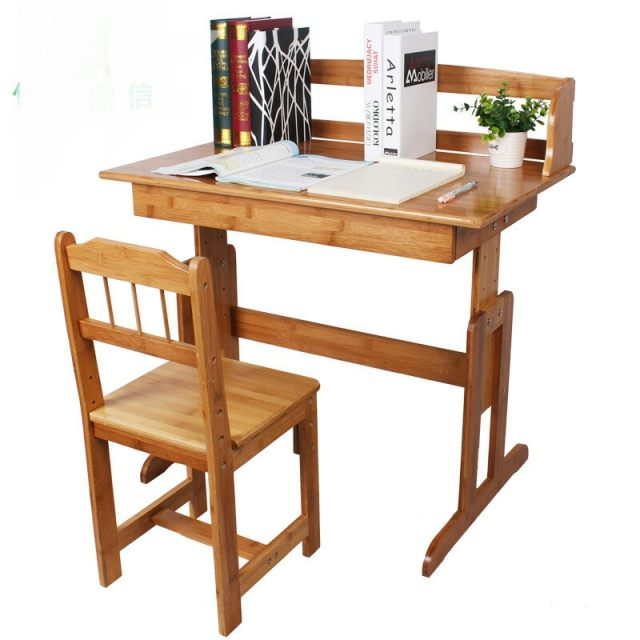 Children Furniture Sets Kids Furniture Sets Bamboo Lifting Table Kids Study  Table Desk 1 Table+1 Chair Sets Minimalist Modern