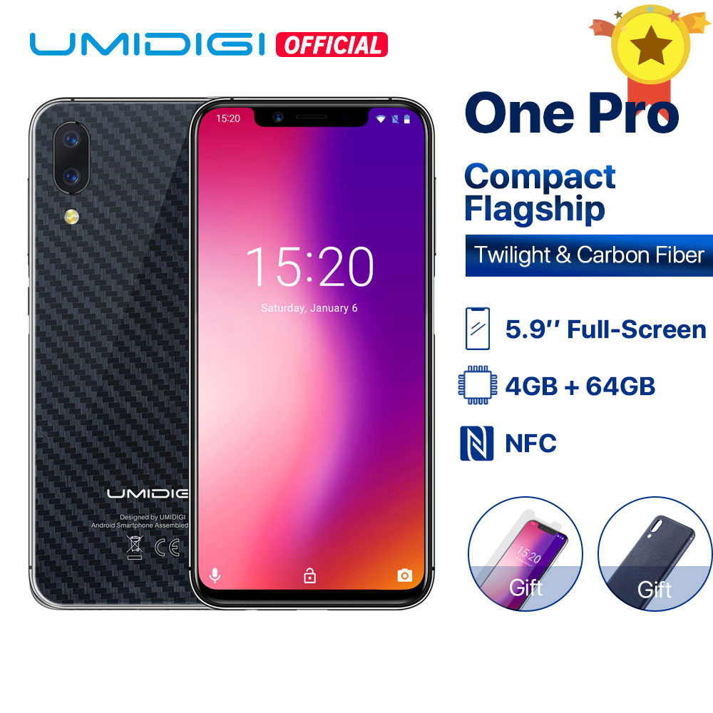 "Umidigi One Pro Global Version 4GB 64GB Helio P23 Octa-core 5.9"" Fullscreen Android 8.1 NFC Smartphone Face ID Wireless Charging"