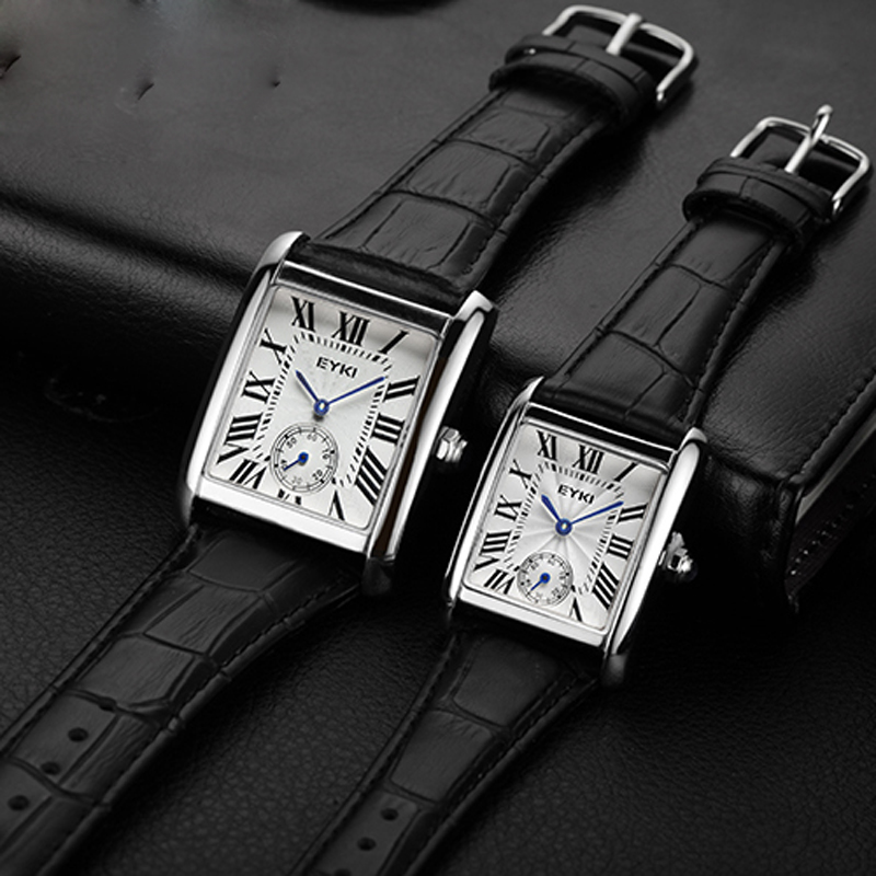 Men's Rectangular Roman Waterproof Two-and-a-half-stitch Watch With True Leather Belt Quartz Watch Men's Watch