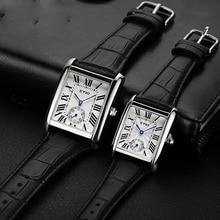 Men's Rectangular Roman Waterproof Two-and-a-half-stitch Watch with True Leather Belt Quartz Watch Men's Watch