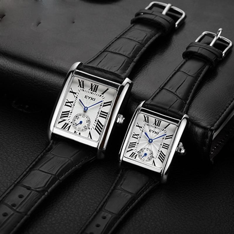 Men s Rectangular Roman Waterproof Two and a half stitch Watch with True Leather Belt Quartz