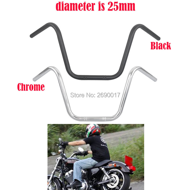 "25MM 1"" Steel Motorcycle High Rider Handlebars Bars Cafe Racer Cruisers Chrome Black Fits For Harley Sportster XL 883 1200-in Handlebar from Automobiles & Motorcycles    1"