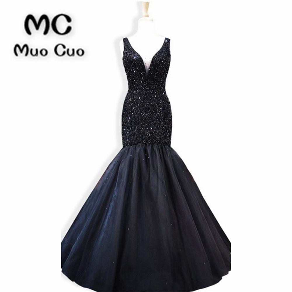 2018 New Mermaid   Prom     dresses   Long Crystals Beaded Tulle Vestidos de fiesta   dress   for graduation Dark Blue Formal Evening   Dress