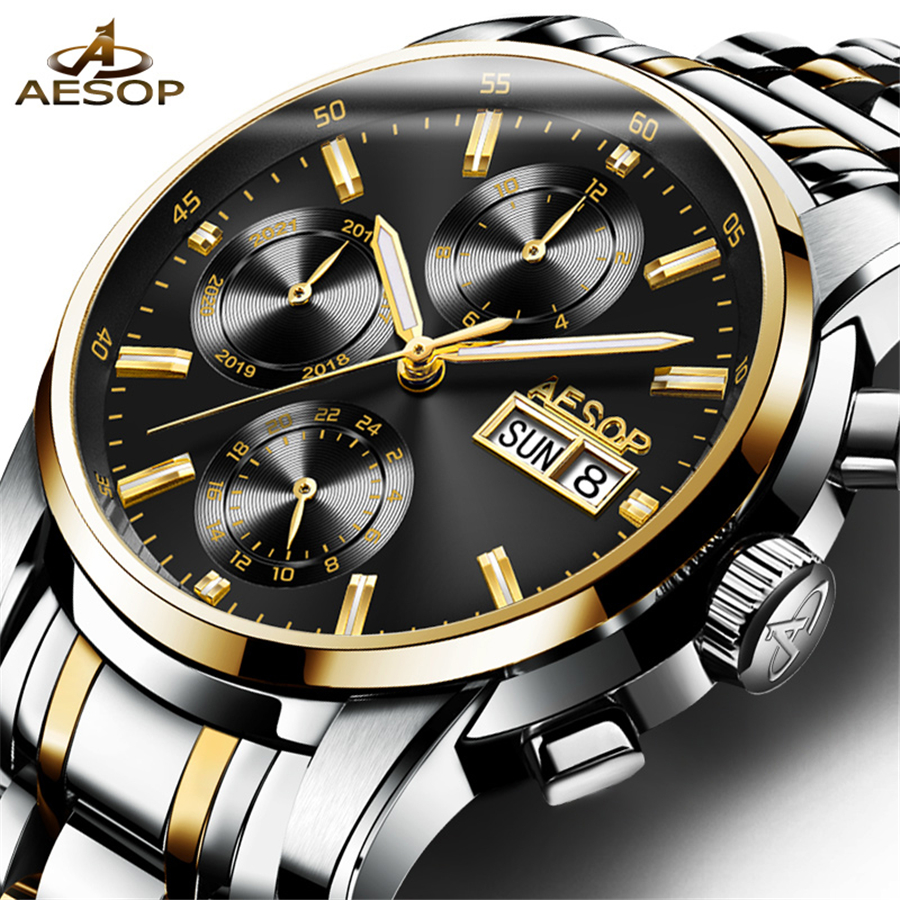 AESOP Automatic Mechanical Watch Mens Watches Top Brand Luxury Full Steel Business Waterproof sport Watch Relogio Masculino 2018