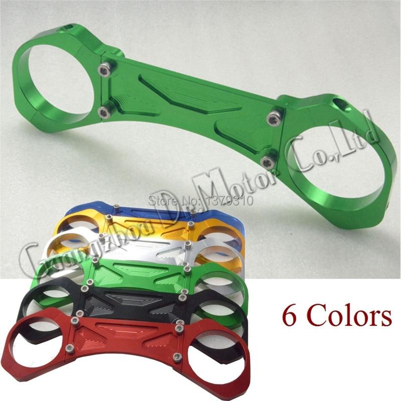 ФОТО CNC Motorcycle Front fork Shock Absorber balance brace device for Kawasaki ZRX400 ZRX1100 ZRX1200 Green free shipping 6 colors