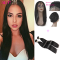 Pre Plucked 360 Lace Frontal With Bundles Brazilian Straight Virgin Hair 2Pcs Lot Human Hair Wefts 360 Lace Band With Baby Hair