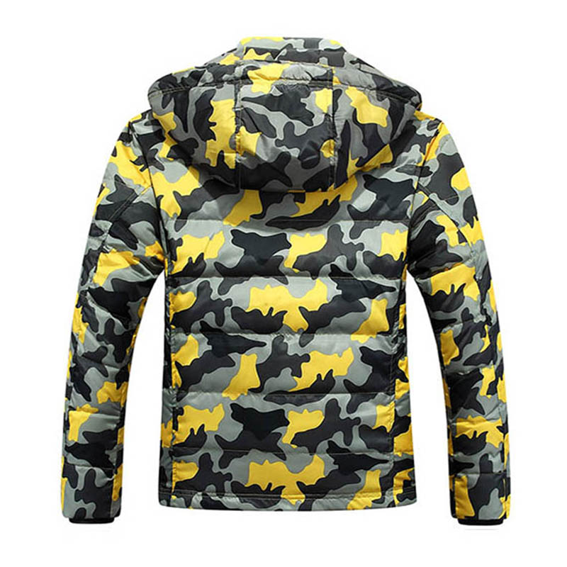 Capuchon Arrivée vent Yyj0042 Veste À Épais Vers Blue Hommes yellow Mode Chaud Mince Coupe Hiver Bas Manteau Nouvelle Le 2018 Camouflage De Vestes Tdq4RTP
