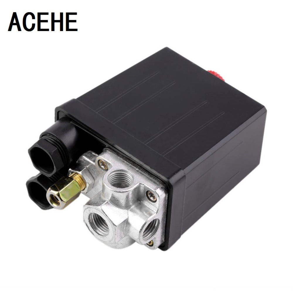 ACEHE High Quality 1Pc Heavy Duty Air Compressor Pressure Switch Control Valve 90 PSI -120 PSI Air Compressor Switch Control heavy duty air compressor pressure control switch valve 90 120psi 12 bar 20a ac220v 4 port 12 5 x 8 x 5cm promotion price