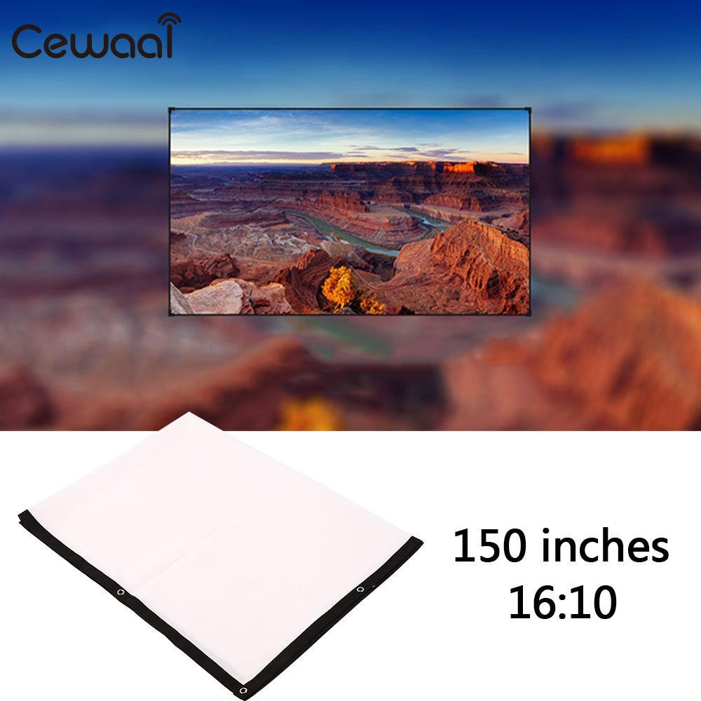 Cewaal Portable <font><b>150</b></font> <font><b>inch</b></font> 16:10 <font><b>Projector</b></font> White Projection <font><b>Screen</b></font> For HD <font><b>Projector</b></font> Home Cinema Theater Movie Party Indoor Outdoor image