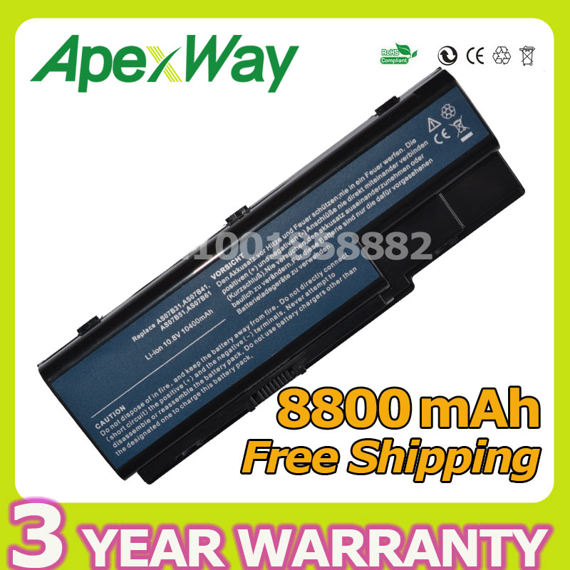 Apexway 12 cells laptop battery for Acer Aspire 5520 5720 5920 6920 6920G 7520 7720 7720G 7720Z MC7833u MD7309u MD7311h MD7311u for acer 7220 7520 5315 5720 7720 5520 5310 laptop cpu fan