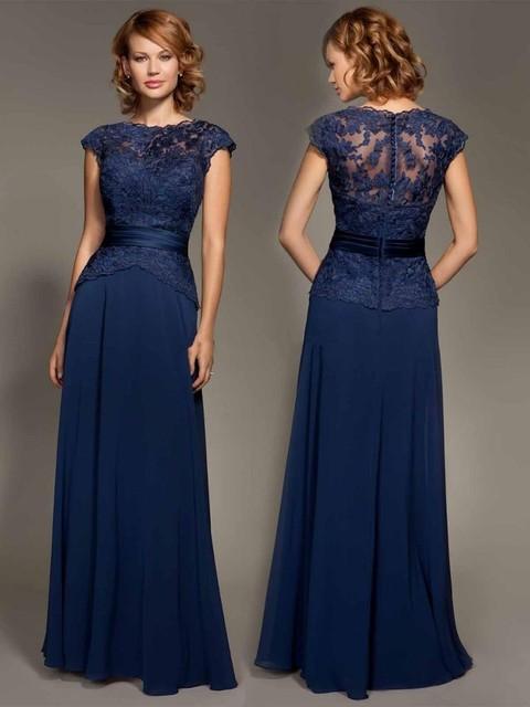 Elegant Navy Blue Long Evening Dress Simple Appliques Lace Chiffon