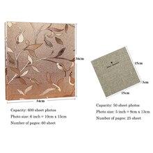 600 Sheets 6-inch(50 Sheets 5-inch) Photo Interstitial Photo Album Retro PU leather Foto Albums Scrapbook Wedding Memory Album