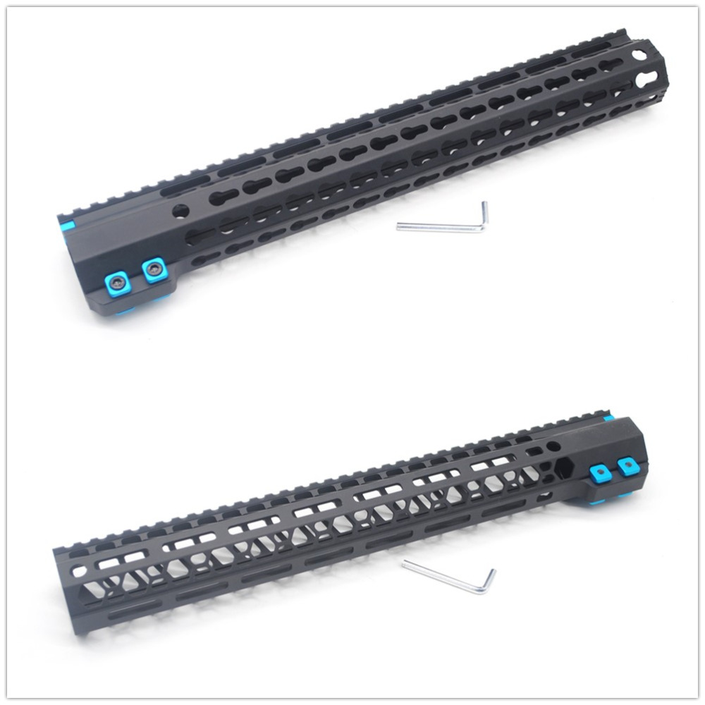 Black 15'' Inch Free Float High Profile Keymod/M-lok Picatinny Rail Handguard For LR-308