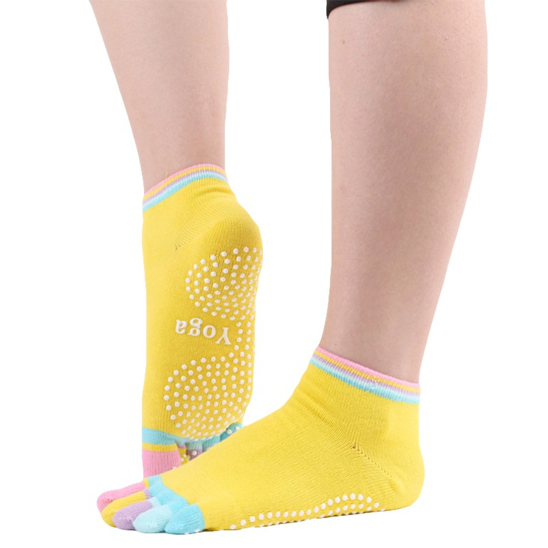 Coloful Five Toe Fingers Exercise Yoga Socks Non Slip Full Toe Socks Fitness Gym Sock Grips Dance Ballet Sport Socks(China)