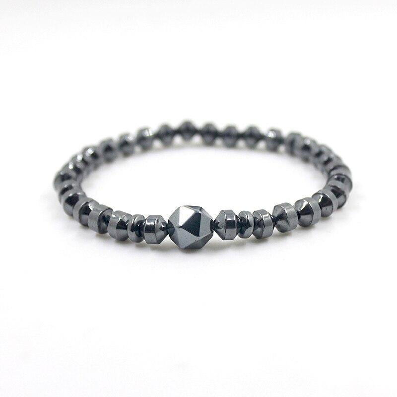 Hematite Faced Beads Bracelet Stetch Strand Bracelet Beaded Bracelet Black Natural Stone For Men and Women Drop Shipping HB1038