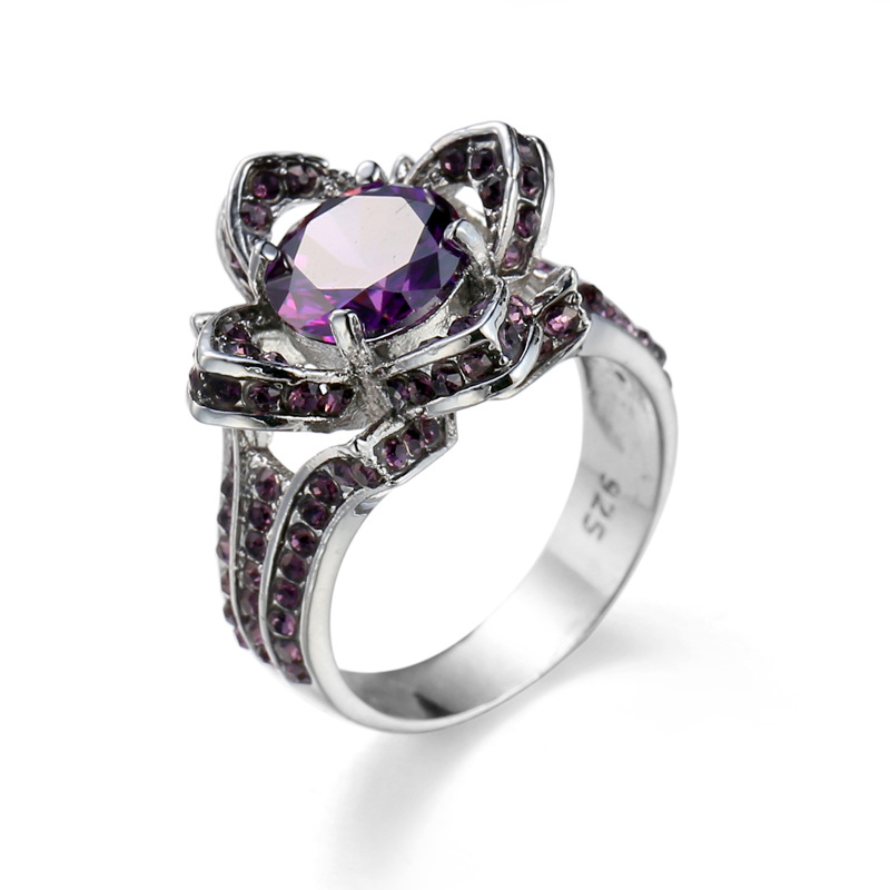 European and American purple zircon ring women flower