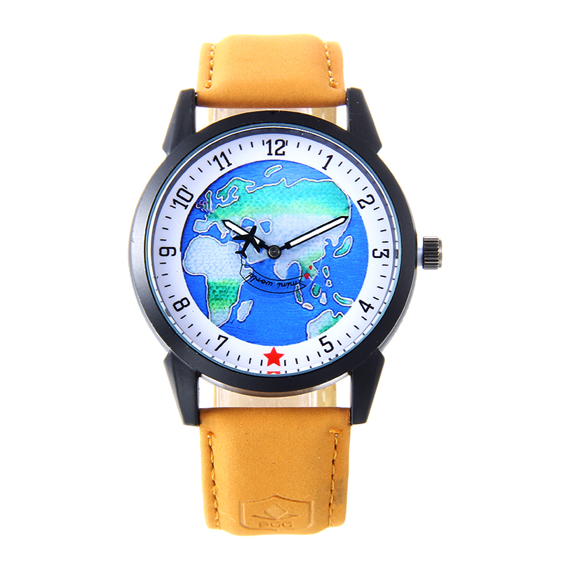 Moving plane the globe Dial Military Quartz watch Men sport Watch Leather Strap army Business wristwatch male Casual clock Hours matisse fashion austria crystal snowflake rotatable dial leather strap buiness quartz watch wristwatch rosegold