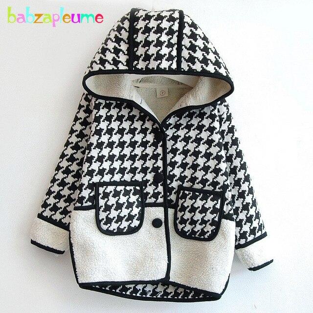 4c0867b3a7e9 2016 Winter Kid Hooded Jacket Fashion Plaid Girls Coat Woolen ...