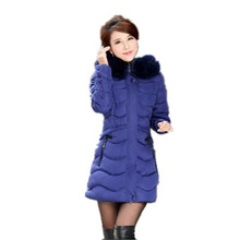 2016 New Winter Fashion Big Yards Women Fur Collar Hooded Padded Jacket Slim Thicken Long Down Jacket Outerwear Parka A1741