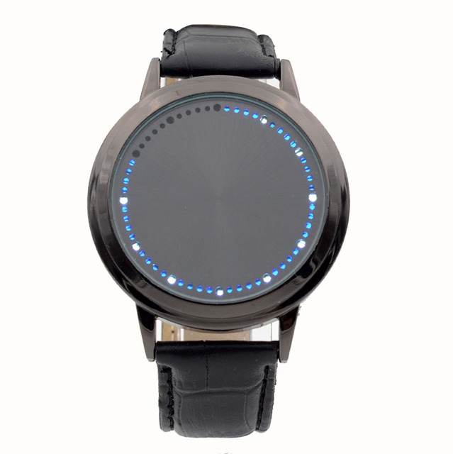 Fashion Touch Screen LED Watches Leather Band Quartz Wristwatch Black Smooth Blue Light Quartz-watch Relogio Masculino Men Women