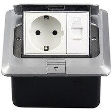Европейский стандарт скрытые пуля Тип Компьютера пол розетки алюминиевый сплав сети Земле гнездо 250v-16a 120-02