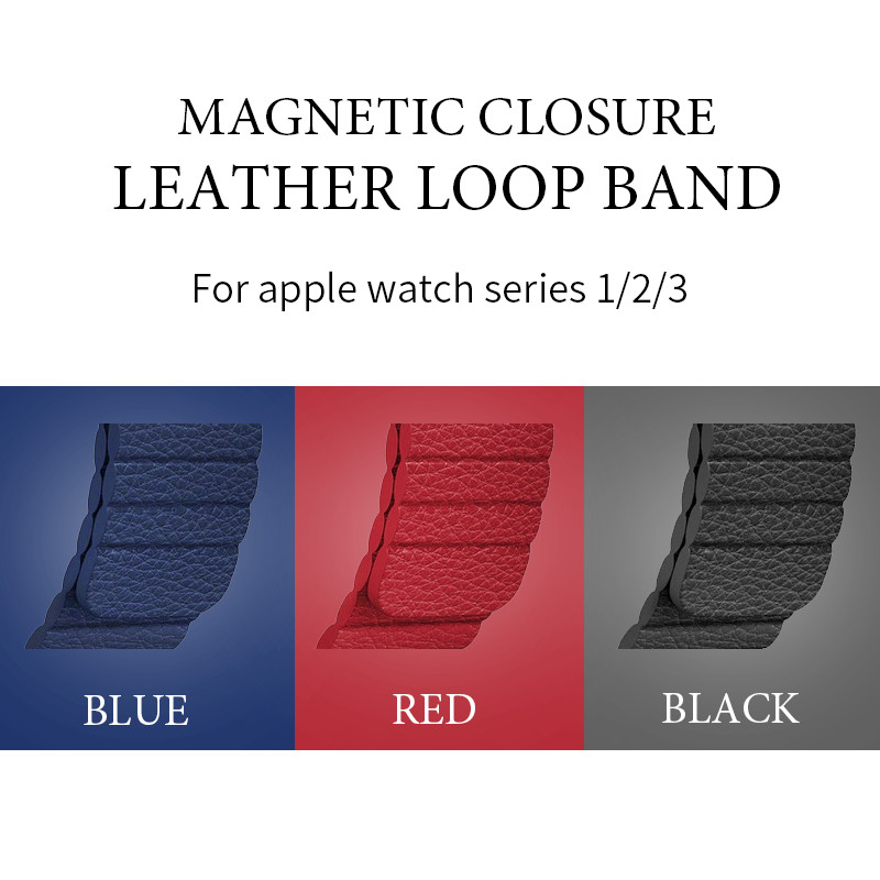 Genuine Leather Band For Apple Watch Bands 38mm/42mm Magnetic Closure Loop Strap for Apple Watch Band Series 3/2/1 for People apple watch apple watch magnetic charging cable 2m mjvx2zm a