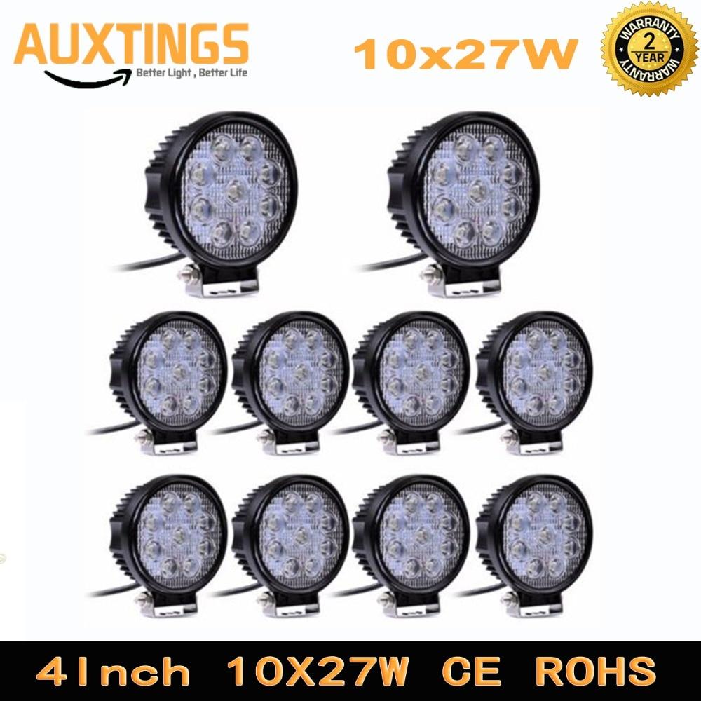 10pcs 4 Inch 27W 12V 24V LED Work Light Spot Flood Round LED Offroad Driving Light