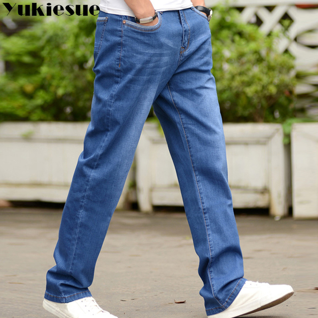 Vintage jeans men casual denim Men's jeans Business Casual Stretch loose Jeans Classic Trousers Denim Pants mail large size