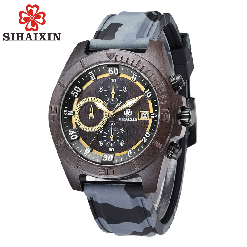 SIHAIXIN Military Sport Wooden Watch Men with Silicone Strap Quartz Wood Wristwatch Chronograph Clock Man Waterproof 2018 New sihaixin wood watches men business luxury stop watch with stainless steel case wooden chronograph military quartz red wristwatch