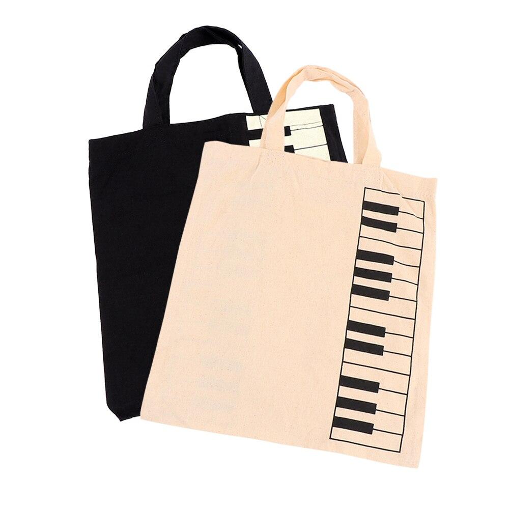 1 Pc Casual Handtas Boodschappentas Draagbare Katoen En Linnen Muziek Score Tas Toetsenbord Patroon Fashion Muzikale Tassen Voor Vrouwen Vrouwelijke