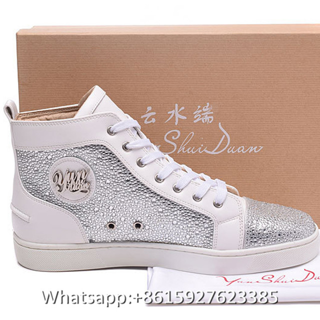 High Top Men Women Red Bottoms Shoes Fashion White Leather Bling Rhinestone Mens  Casual Shoes Women Breathable Sneaker Sale bfc40016415b