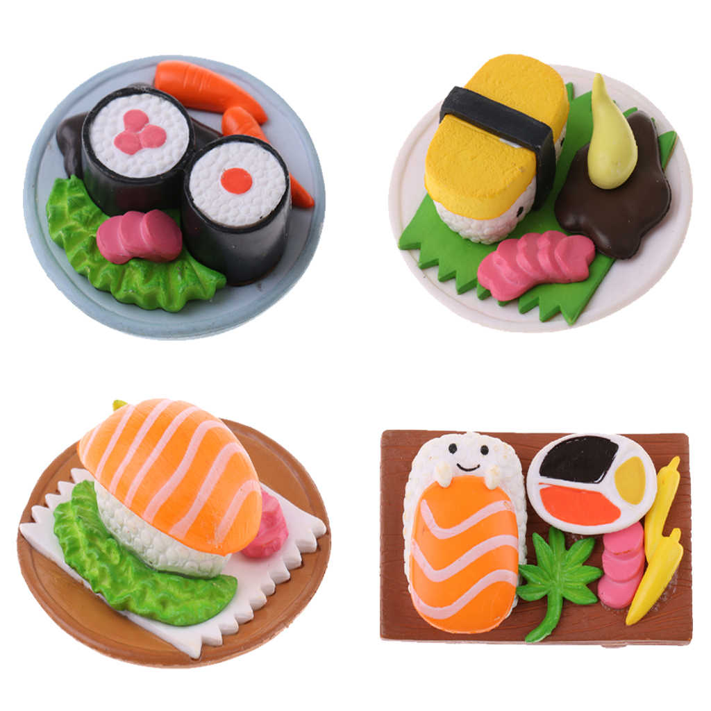 1/12 Dollhouse Miniature Resin Vivid Japanese Food Rice Roll Sushi for 1:12 Doll House Decor Kids Birthday Gift Collectibles