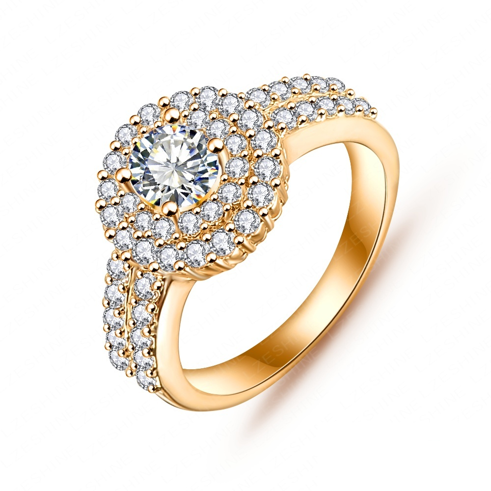 LZESHINE Luxury Queen Ring Silver/Gold Color Round Cut AAA