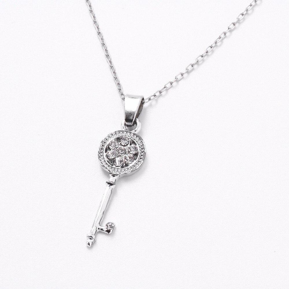 Pendant Necklace Earrings Jewelry-Set Zircon Crystal Rhinestone Women Ladies Key Long