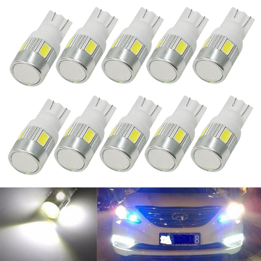 10Pcs T10 W5W 168 194 5630 5730 6SMD T10 LED Wedge Light Side Bulbs For Car Tail Light Parking Dome Door  Light White DC12V