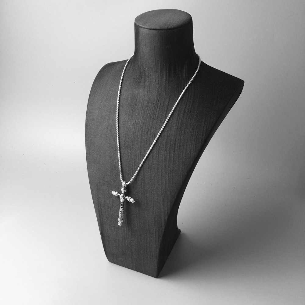 Link Rantai Kalung Tengkorak Lintas Membuka, 2018 Baru Fashion 925 Sterling Silver Perhiasan Eropa Vintage Hadiah untuk Pria Wanita Anak Gadis