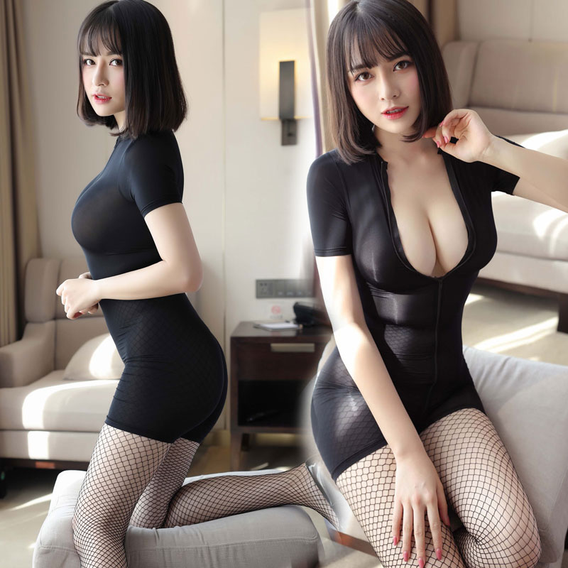 Sexy Women Zipper Open Crotch Bust High Cut Bodysuit Ice Silk Smooth Shiny Playsuit Sukumizu Jumpsuit Shaping Dance Wear F24